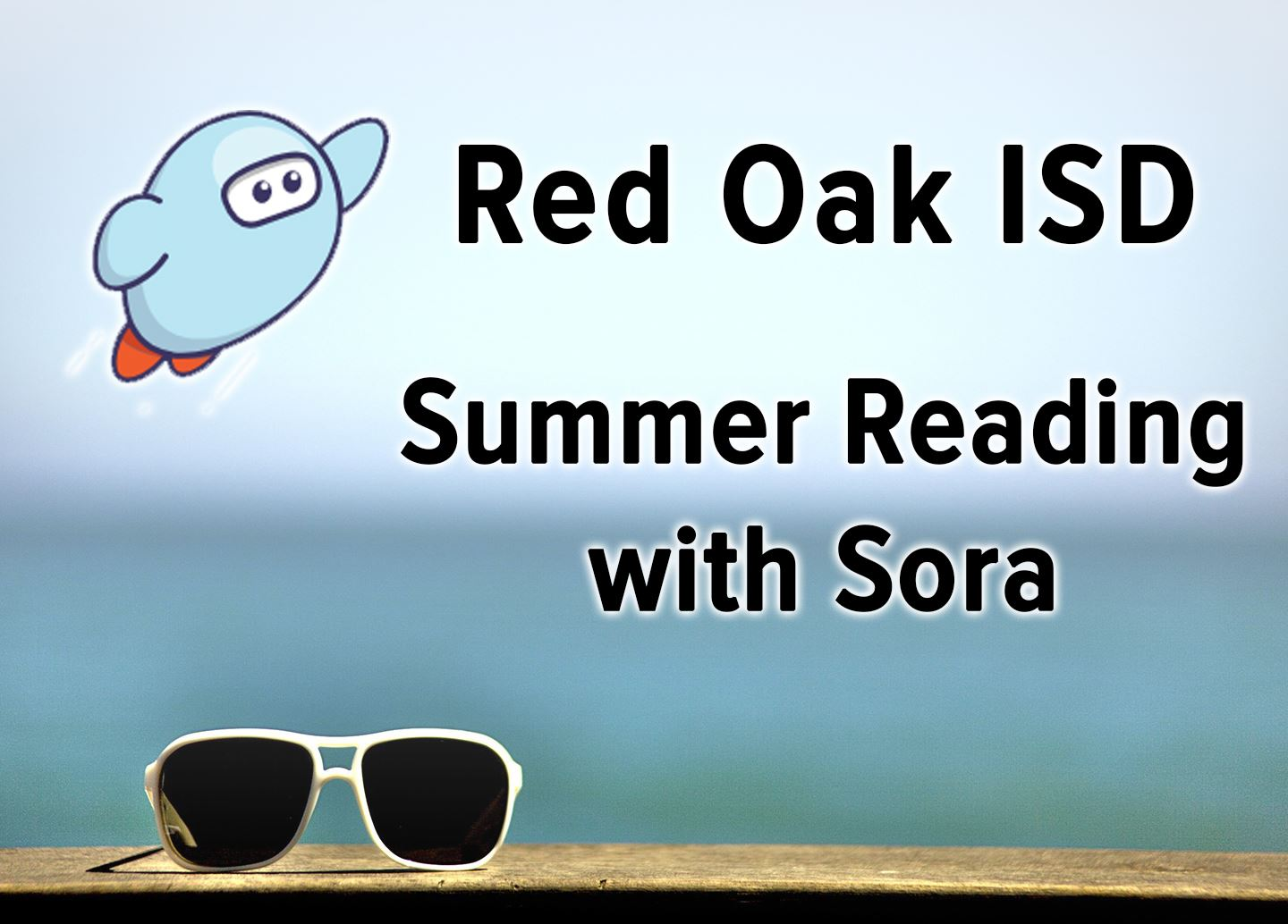 Red Oak ISD Summer Reading with Sora on beach background