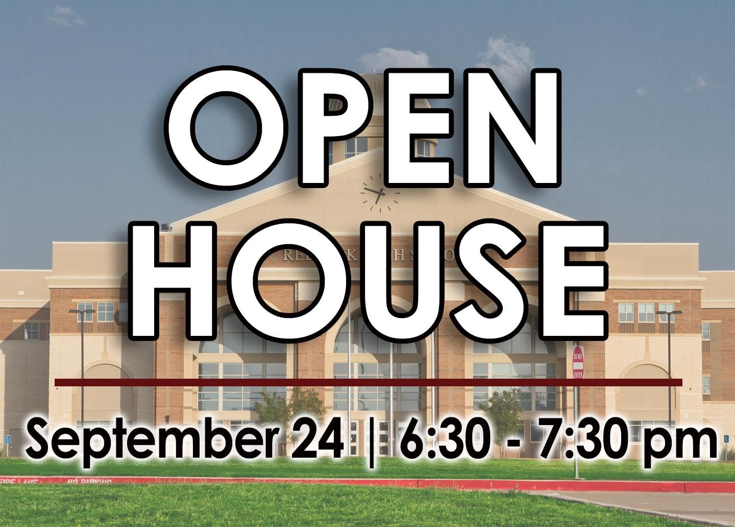 Red Oak High School Open House on September 24 from 6:30 - 7:30 p.m.