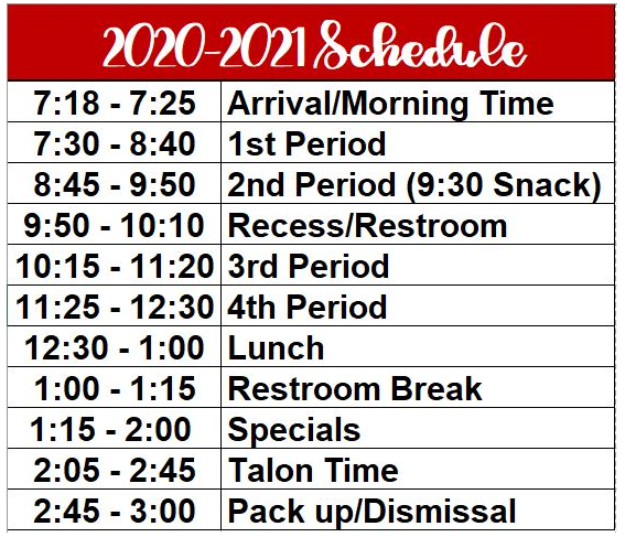 5th Grade Daily Schedule