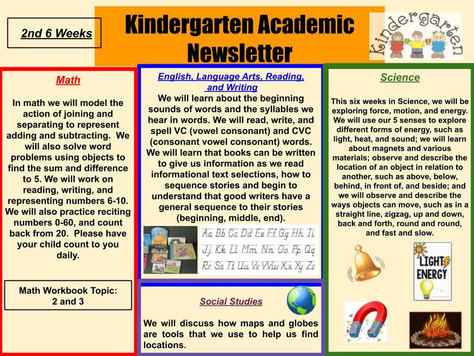 2nd 6 weeks Kindergarten Newsletter