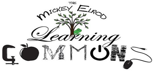 The Mickey Elrod Learning Commons logo with tree and frog