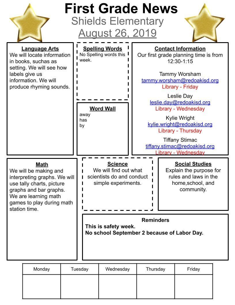 First Grade Newsletter for August 26, 2019
