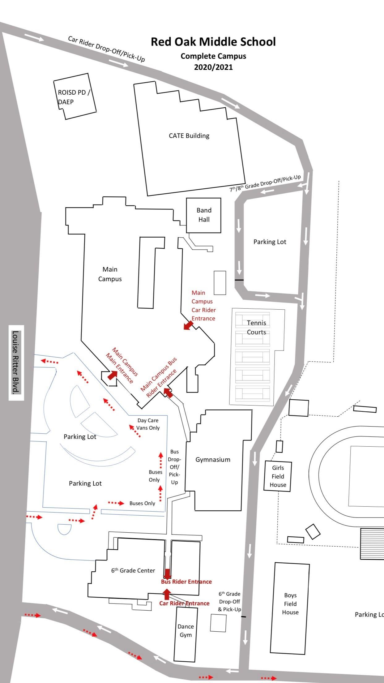 diagram showing traffic flow around entire ROMS campus for arrival procedures