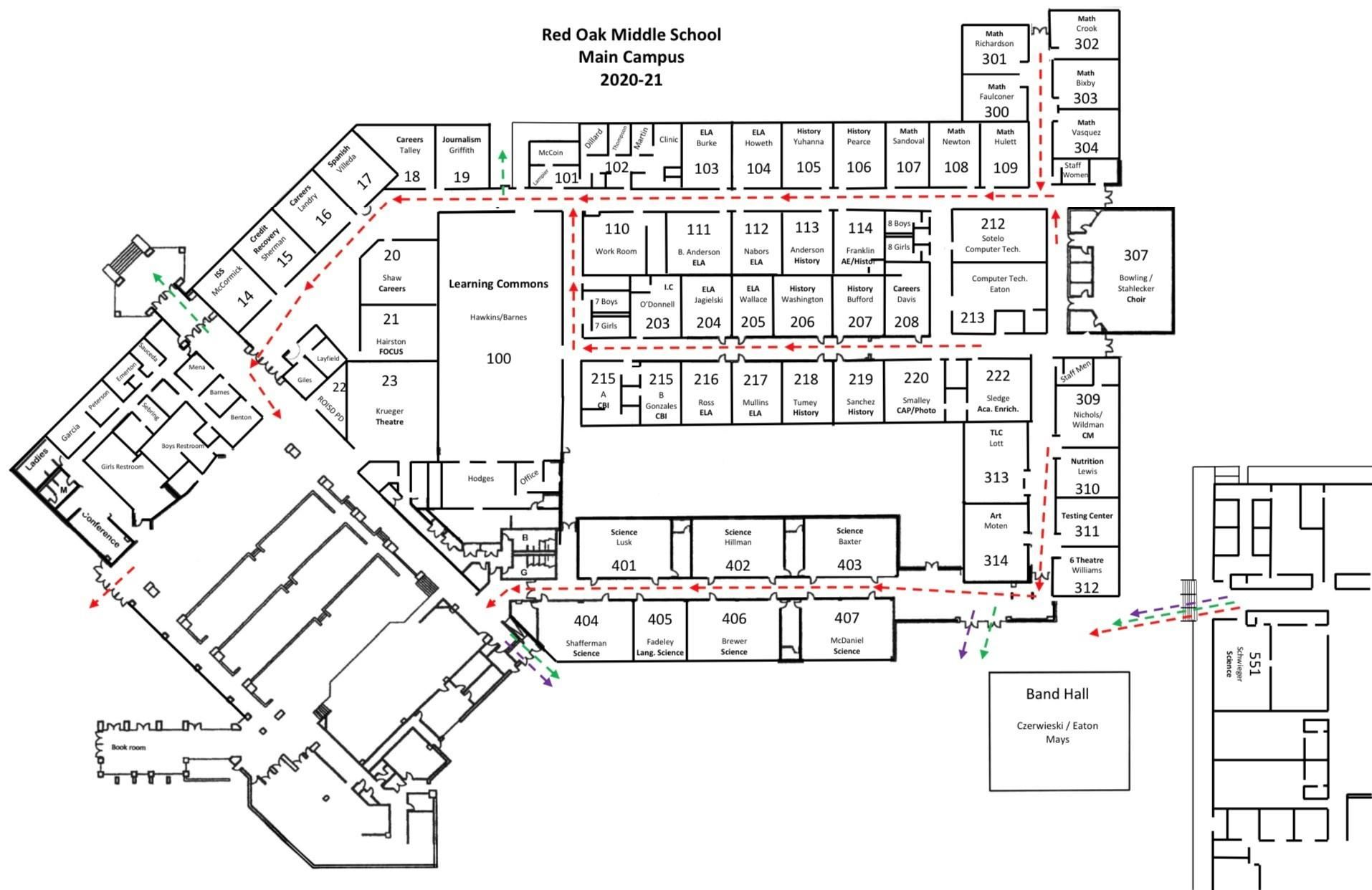 map of main campus showing designated hallways for dismissal procedures