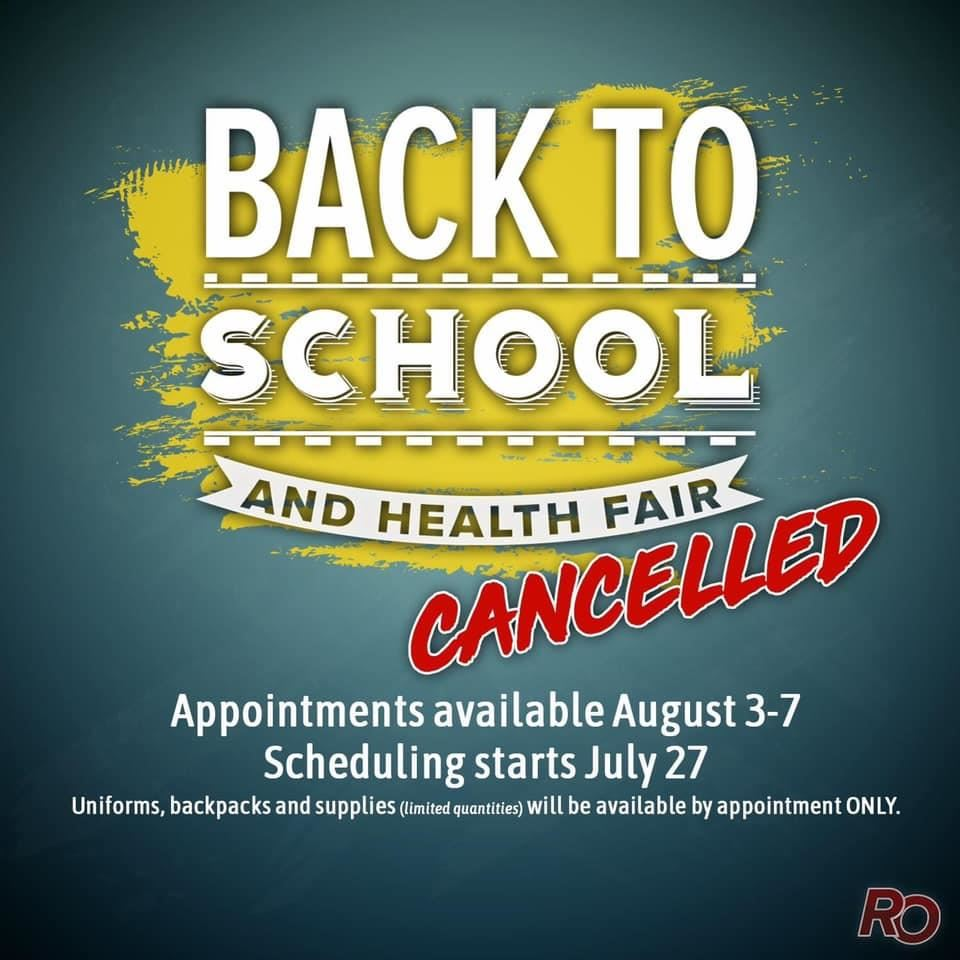 Back to School and Health Fair Cancelled