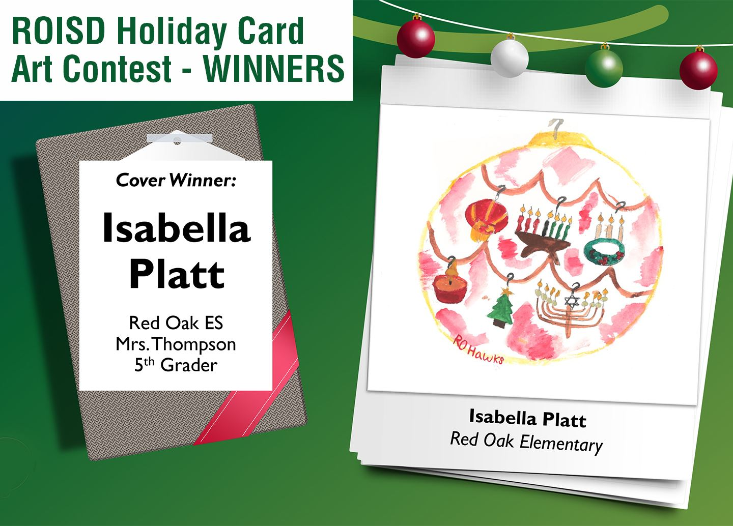 ROISD Holiday Card Art Contest Winner-Isabella Pratt from Red Oak Elementary