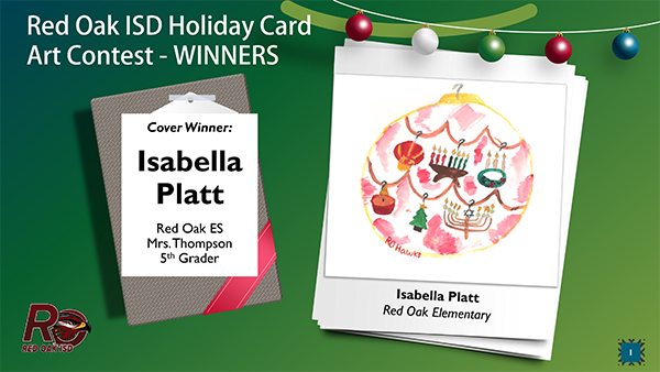 ROISD Holiday Card Art Contest Winner is Isabella Platt's design of an large ornament with various holiday symbols