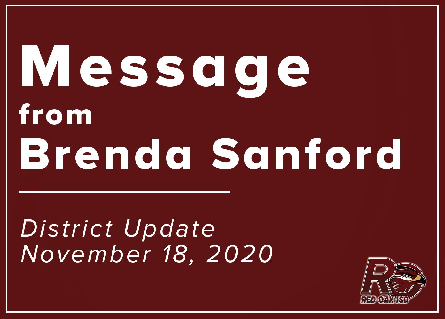 Message from Brenda Sanford - District Update on Nov. 18, 2020