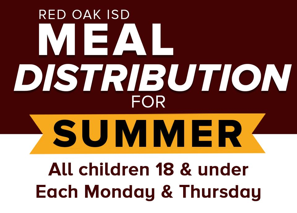 ROISD Meal Distribution for Summer: all children 18 & under on Monday and Thursday