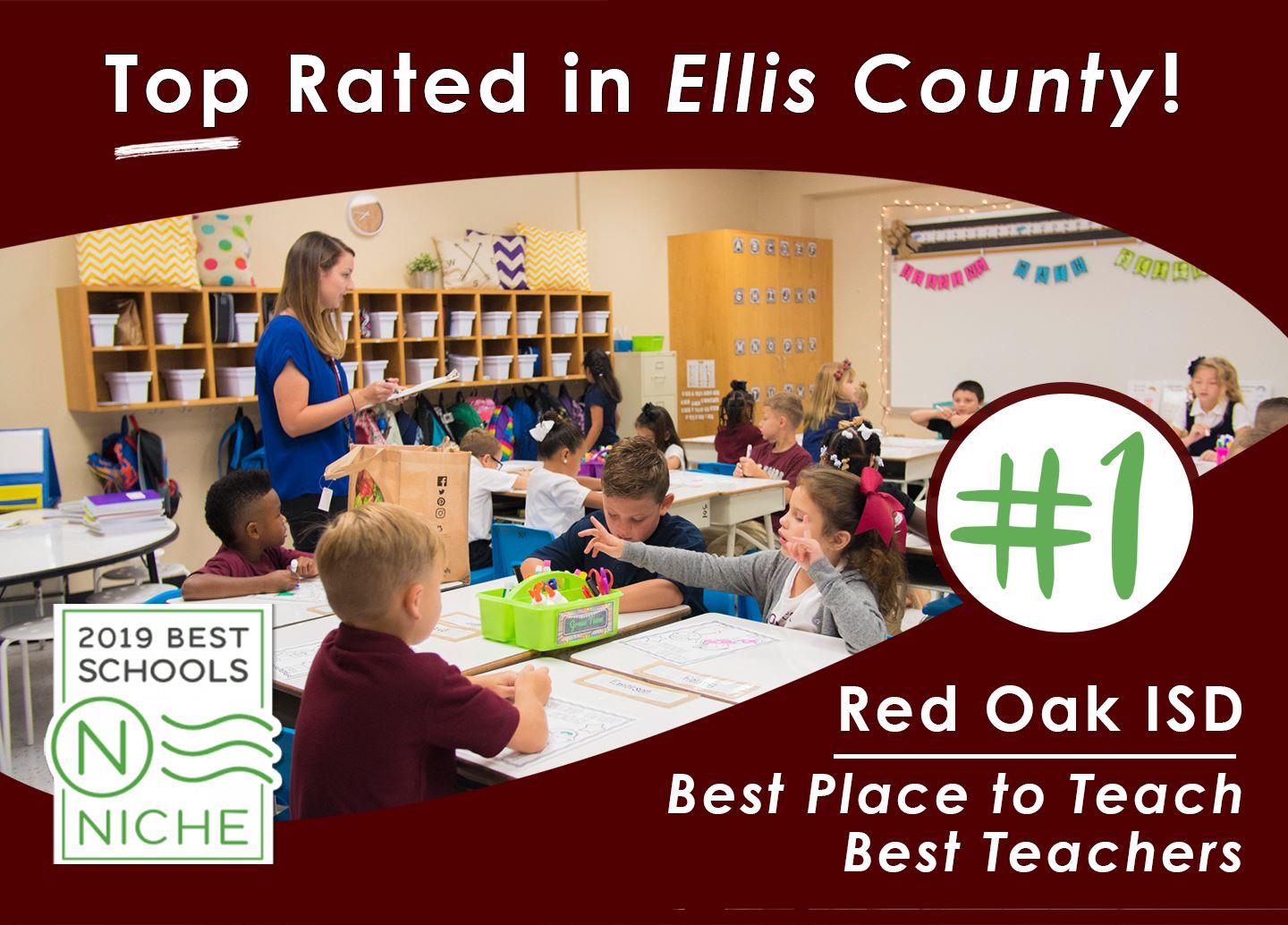 Red Oak ISD is Top Rated in Ellis County for Best Place to Teach and Best Teachers!