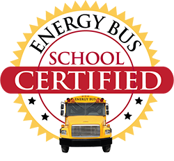 Energy Bus School Certified logo with bus