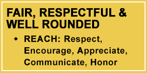Talon 3-Fair, Respectful and Well Rounded Characteristics through REACH: Respect, Encourage, Appreciate, Communicate, Honor